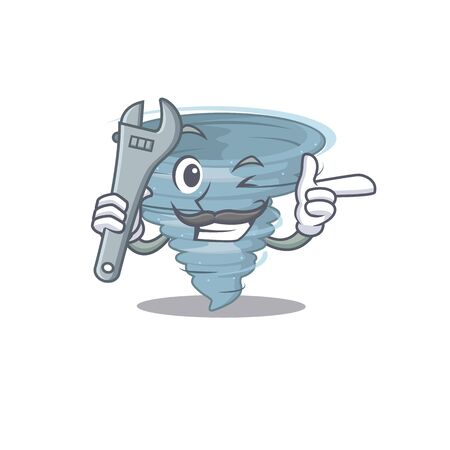 A picture of tornado mechanic mascot design concept. Vector illustration