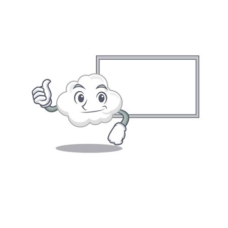Humorous white cloud cartoon design Thumbs up bring a white board. Vector illustration