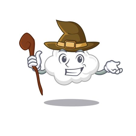 White cloud sneaky and tricky witch cartoon character Ilustração