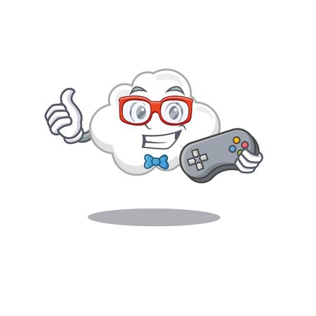 Mascot design concept of white cloud gamer using controller