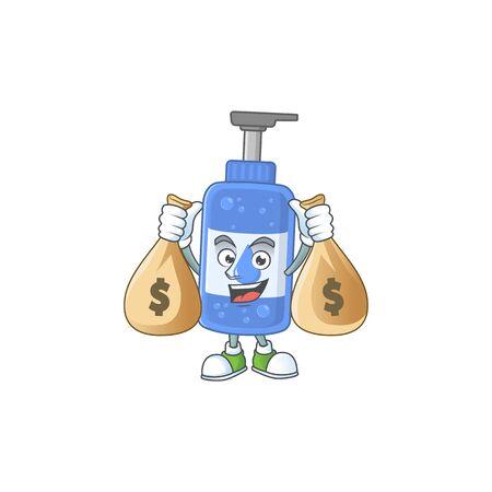 Blissful rich handsanitizer cartoon character having money bags. Vector illustration