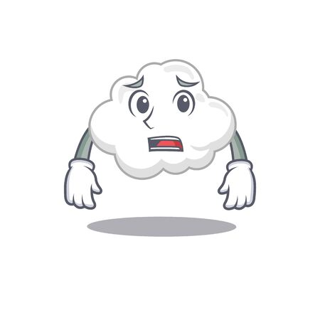 Cartoon design style of white cloud showing worried face