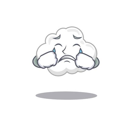 Cartoon character design of white cloud with a crying face. Vector illustration