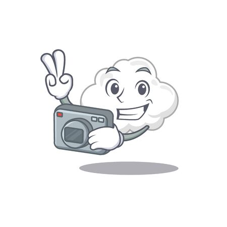 White cloud mascot design as a professional photographer working with camera. Vector illustration Ilustração