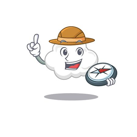 mascot design concept of white cloud explorer with a compass