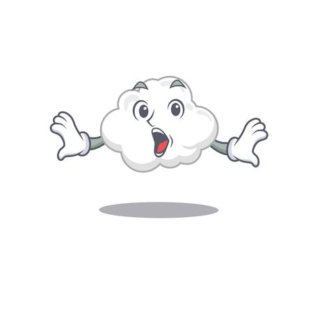 Cartoon design style of white cloud has a surprised gesture