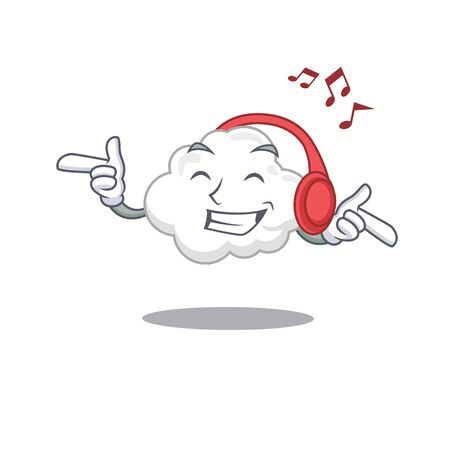 White cloud Cartoon design concept listening music Ilustração