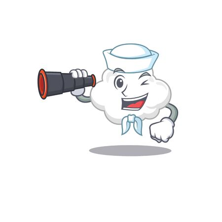 A cartoon icon of white cloud Sailor with binocular Ilustração