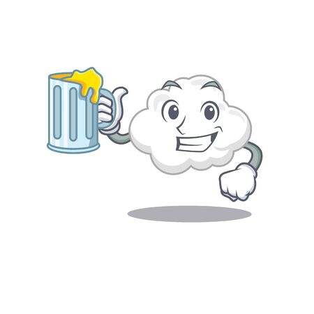 A cartoon concept of white cloud rise up a glass of beer
