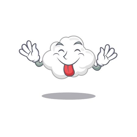 An amusing face white cloud cartoon design with tongue out Ilustração