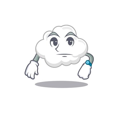 Mascot design of white cloud showing waiting gesture. Vector illustration Ilustração