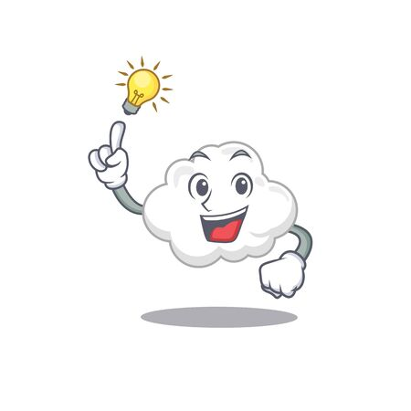 Mascot character design of white cloud with has an idea smart gesture Ilustração
