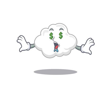 Rich cartoon character design of white cloud with money eyes