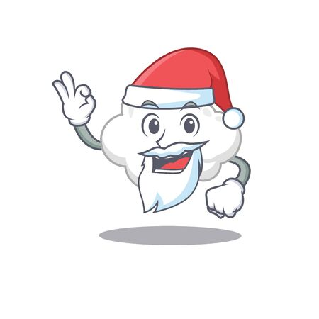 White cloud Santa cartoon character with cute ok finger Ilustração