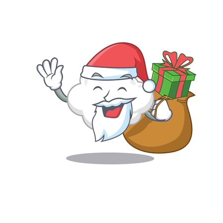 Cartoon design of white cloud Santa with Christmas gift Ilustração