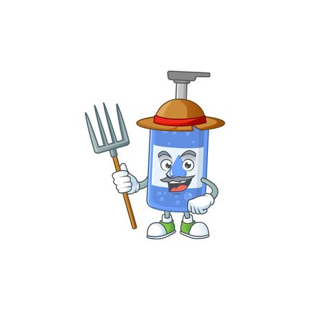 Mascot design style of Farmer handsanitizer with hat and pitchfork. Vector illustration