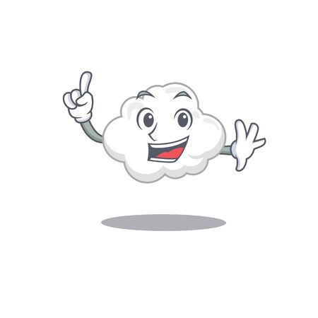 White cloud mascot character design with one finger gesture