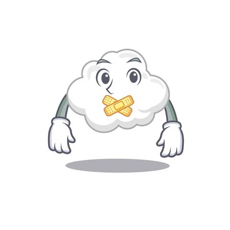 White cloud cartoon character style with mysterious silent gesture