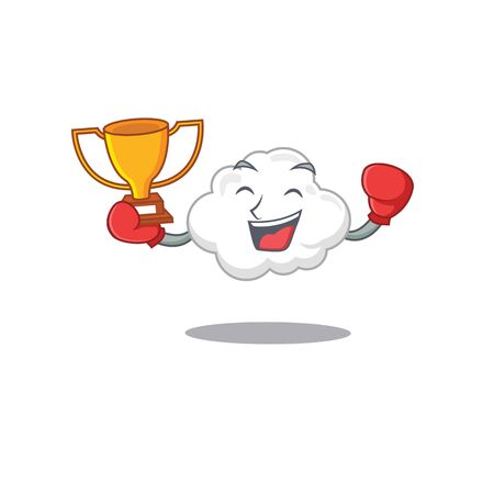 An elegant boxing winner of white cloud mascot design style. Vector illustration