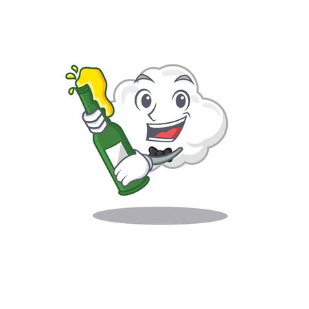 Mascot character design of white cloud say cheers with bottle of beer Ilustração