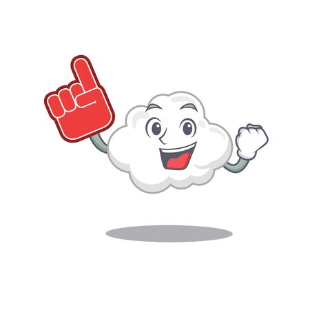 White cloud presented in cartoon character design with Foam finger. Vector illustration