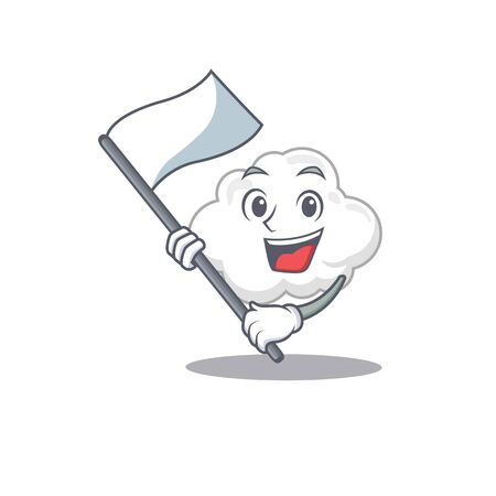 A nationalistic white cloud mascot character design with flag