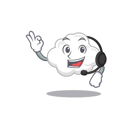 A gorgeous white cloud mascot character concept wearing headphone. Vector illustration