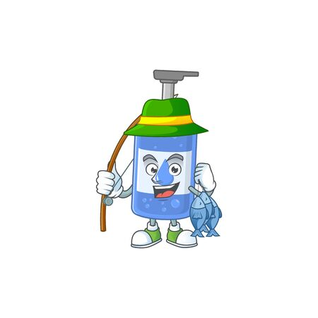 A Picture of handsanitizer fisher mascot design catch a fish. Vector illustration