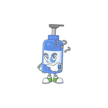 Handsanitizer mascot design concept having confuse gesture. Vector illustration Illustration