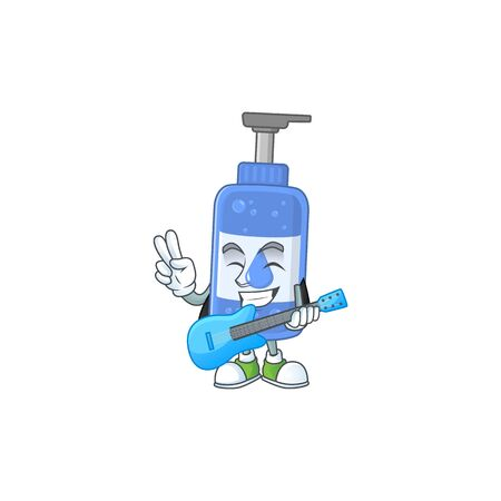 Happy face of handsanitizer cartoon plays music with a guitar. Vector illustration