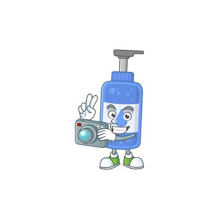 Handsanitizer photographer mascot design concept using an expensive camera. Vector illustration Ilustração