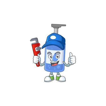 Mascot design concept of handsanitizer work as smart Plumber. Vector illustration