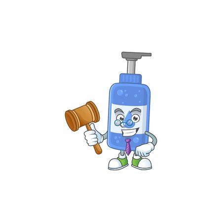 Charismatic Judge handsanitizer cartoon character design with glasses. Vector illustration
