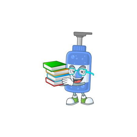 A mascot design of handsanitizer student character with book. Vector illustration