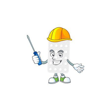 Smart automotive pills presented in mascot design style. Vector illustration