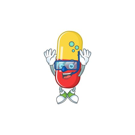 Mascot design concept of red yellow capsules wearing Diving glasses. Vector illustration