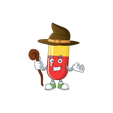 Cute and sneaky Witch red yellow capsules cartoon design style. Vector illustration Ilustração