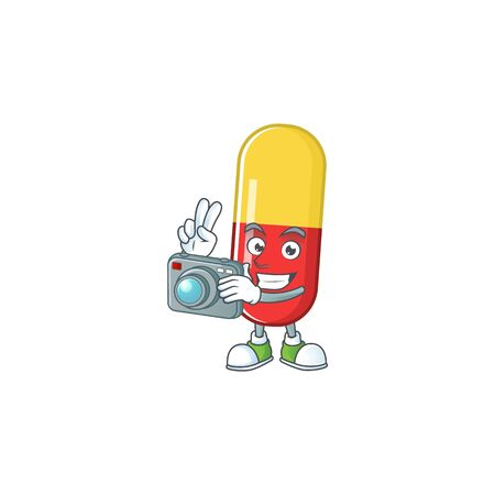 Red yellow capsules photographer mascot design concept using an expensive camera. Vector illustration