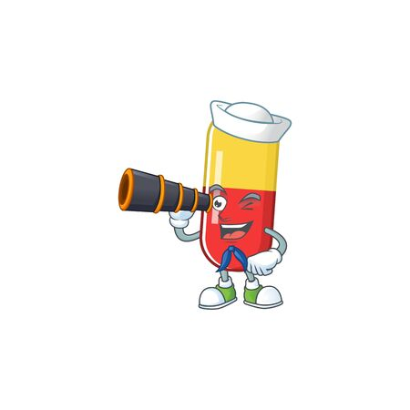 Red yellow capsules in Sailor cartoon character style using a binocular. Vector illustration