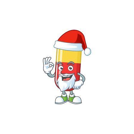 Friendly red yellow capsules Santa cartoon character design with ok finger. Vector illustration Ilustração
