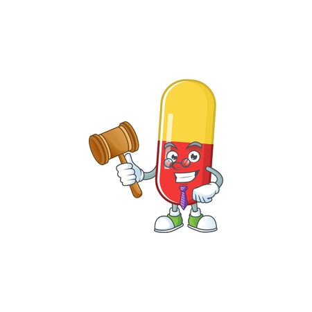 Charismatic Judge red yellow capsules cartoon character design with glasses. Vector illustration