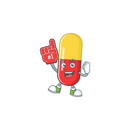 Cartoon character concept of red yellow capsules holding red foam finger. Vector illustration Ilustração