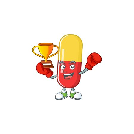 Proudly face of boxing winner red yellow capsules presented in cartoon character design. Vector illustration
