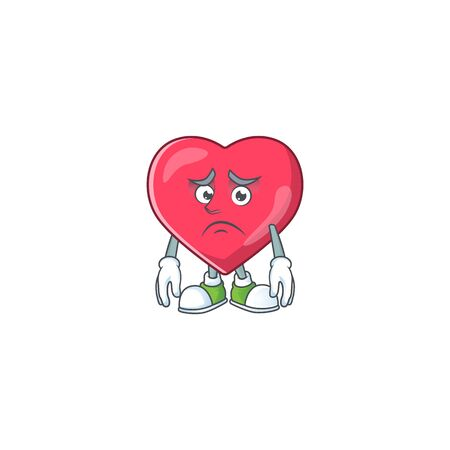 Cartoon picture of heart medical notification with worried face. Vector illustration
