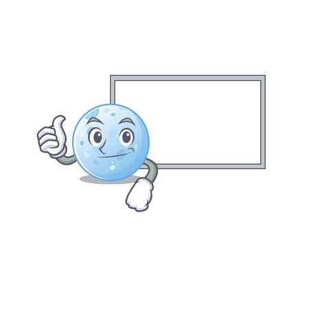 Humorous blue moon cartoon design Thumbs up bring a white board. Vector illustration