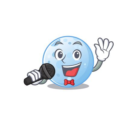 Talented singer of blue moon cartoon character holding a microphone