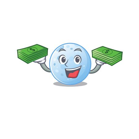 A wealthy blue moon cartoon character having money on hands