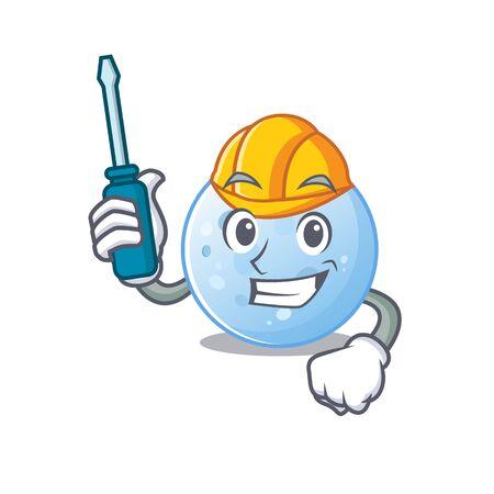 cartoon character of blue moon worked as an automotive mechanic