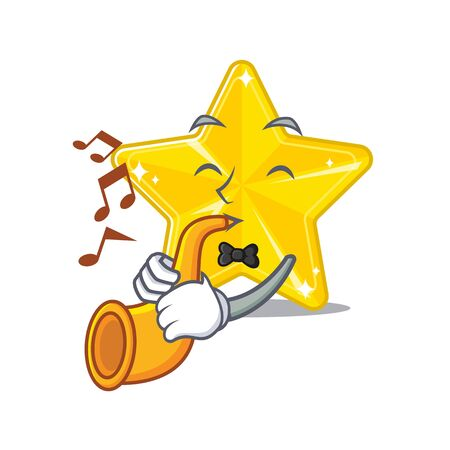 Talented musician of shiny star cartoon design playing a trumpet