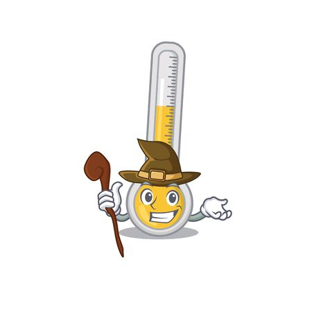 Warm thermometer sneaky and tricky witch cartoon character. Vector illustration